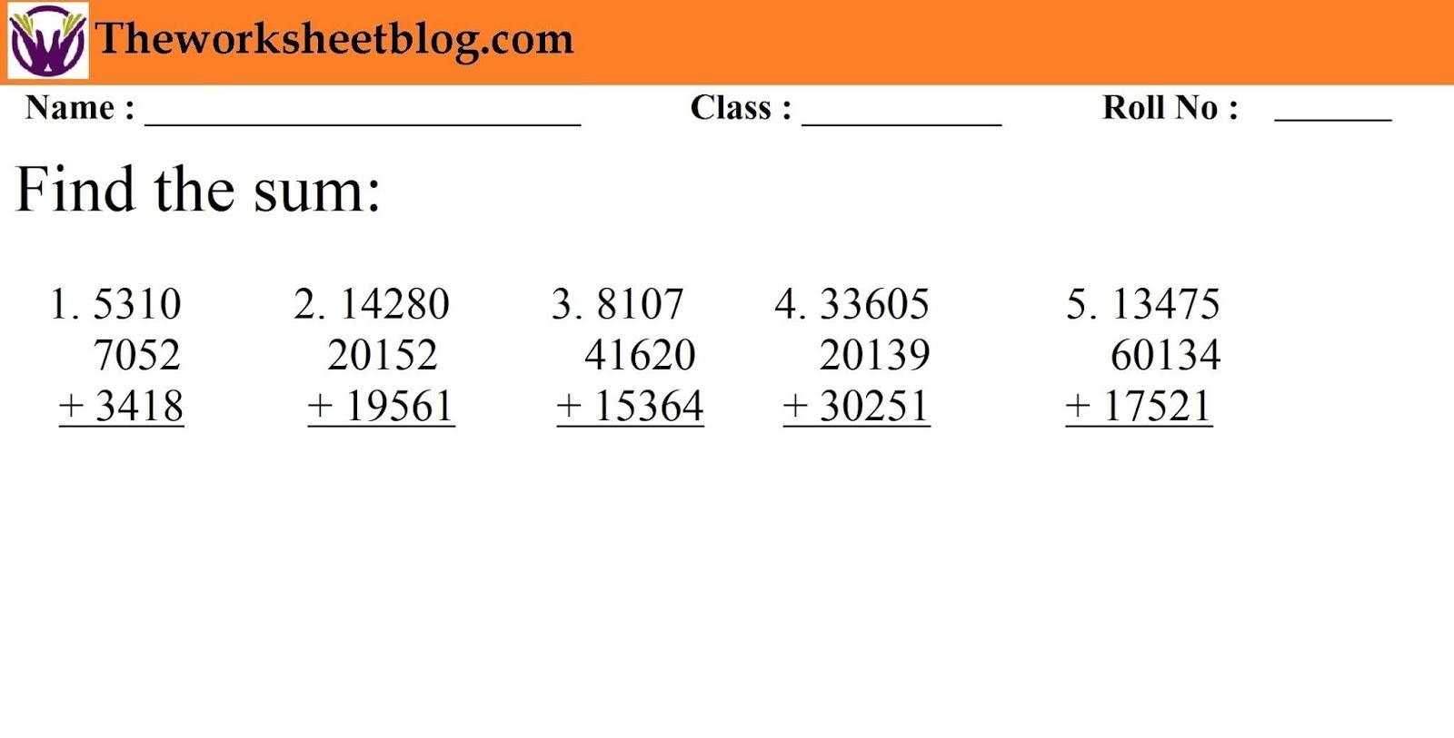 medium resolution of Addition Worksheets For Grade 1 and Grade 2 - Theworksheetsblog