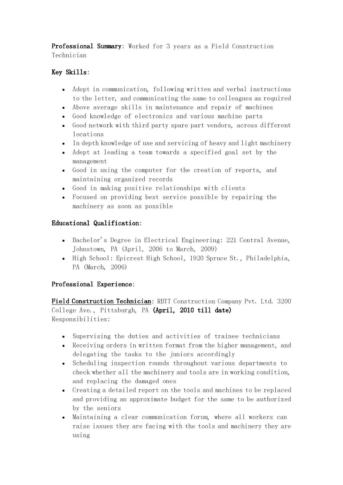 resume samples  field construction technician resume