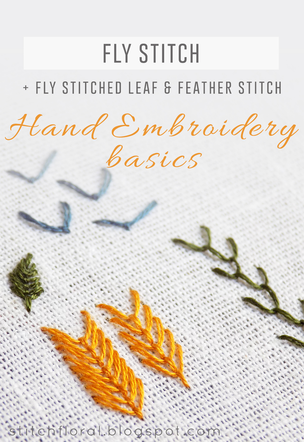 Fly Stitch Fly Stitched Leaves And Feather Stitch Stitch Floral