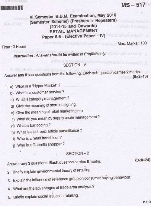 BU BBM Retail Management May 2016 Question Paper