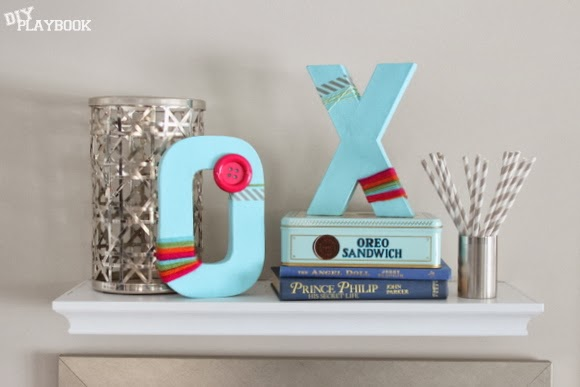 XOXO shelf decor