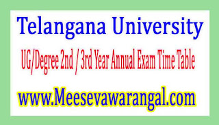 Telangana University UG/Degree 2nd / 3rd Year Annual Exam Time Table 2017
