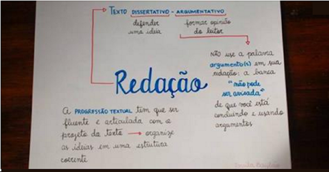 Professora compartilha esquema para estudantes tirarem nota máxima na redação do Enem e post viraliza