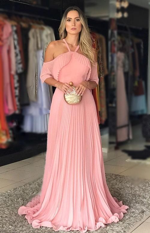 vestido de festa longo rose para madrinha