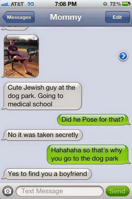 Text from Mom finding a date for her daughter at the dog park.Attraction is Breed Specific. marchmatron.com
