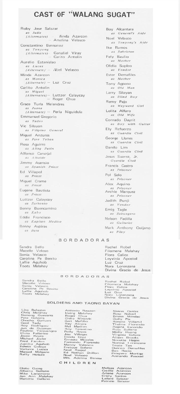 Walang Sugat: Cast of Walang Sugat (Circa 71)