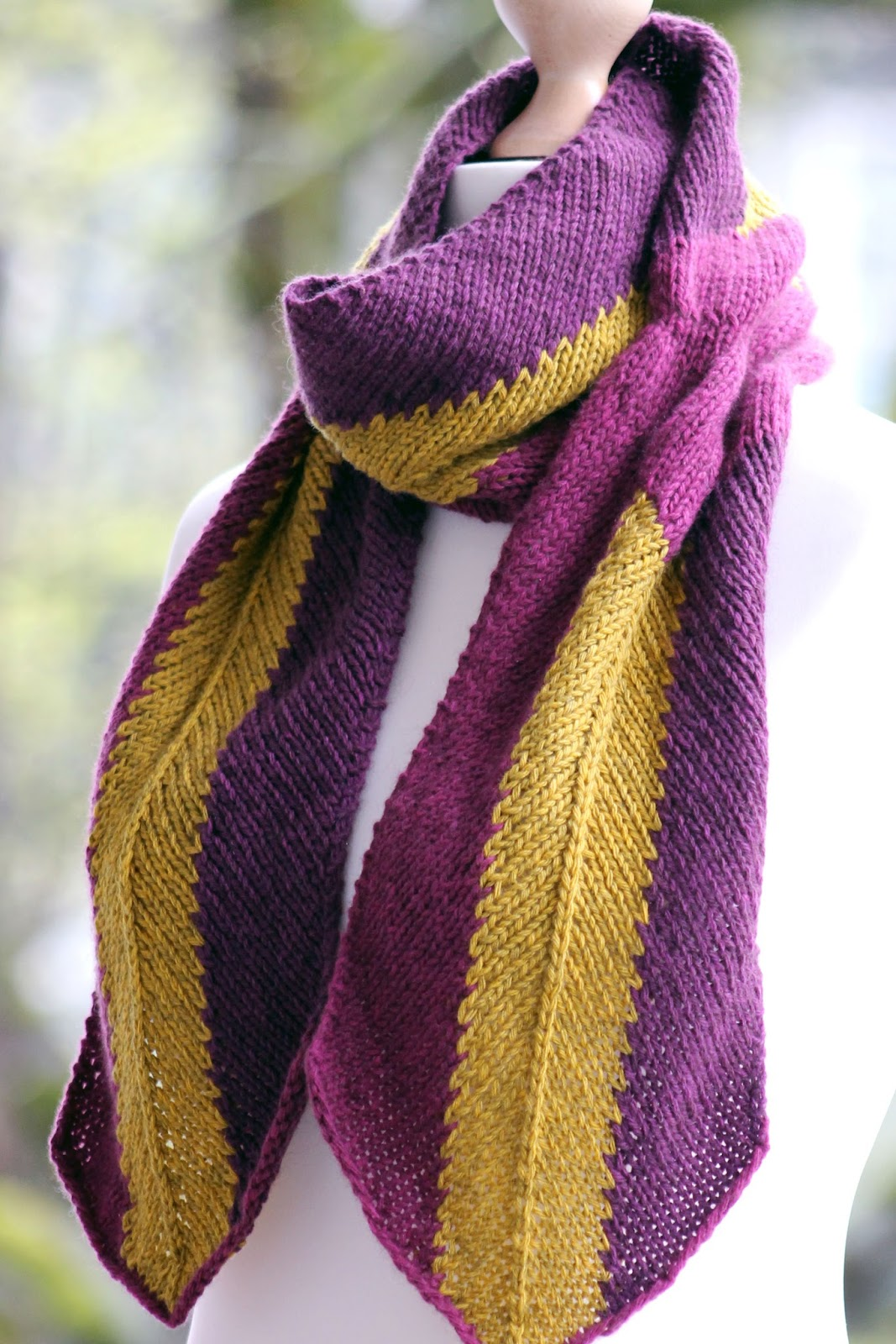 Balls To The Walls Knits Mauve And Mustard Scarf