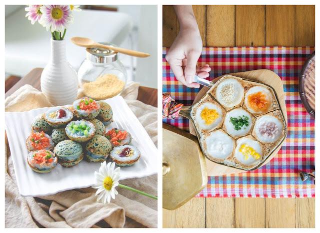 """Bên cạnh đó, bạn sẽ gần như không bao giờ thấy một món ăn Thái nào mà """"ít màu"""", nhất là trong các dịp đặc biệt như lễ hội, kỷ niệm... Khác với Việt Nam và nhiều nước khác chỉ dùng một màu cho một vài món ăn nhất định, như xôi gấc có màu đỏ, xôi lá cẩm có màu tím, hay thậm chí là một màu xanh lá mà dùng cho nhiều món khác nhau như bánh đúc ngọt, bánh da lợn, bánh ống... Thái Lan dùng nhiều màu cho nhiều món. Cho dù là hai món khác nhau xa cả cây số như xôi xoài và bánh dừa nướng Khanom Krok."""