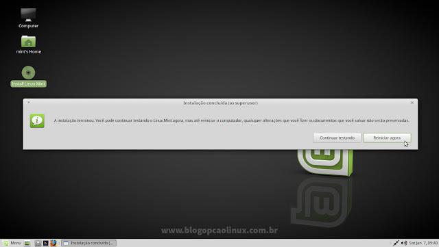 """Linux Mint instalado, clique em """"Reiniciar agora"""""""