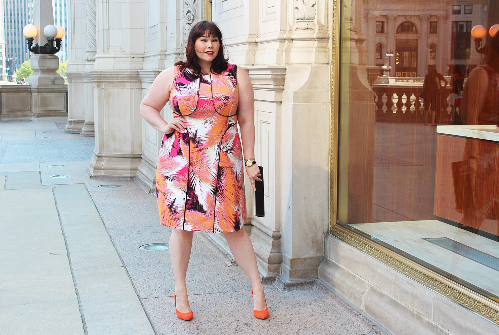 Chicago Plus Size Blogger Amber from Style Plus Curves in a Maggy London London Times Curve Plus Size Dress, palm print, pink and orange dress