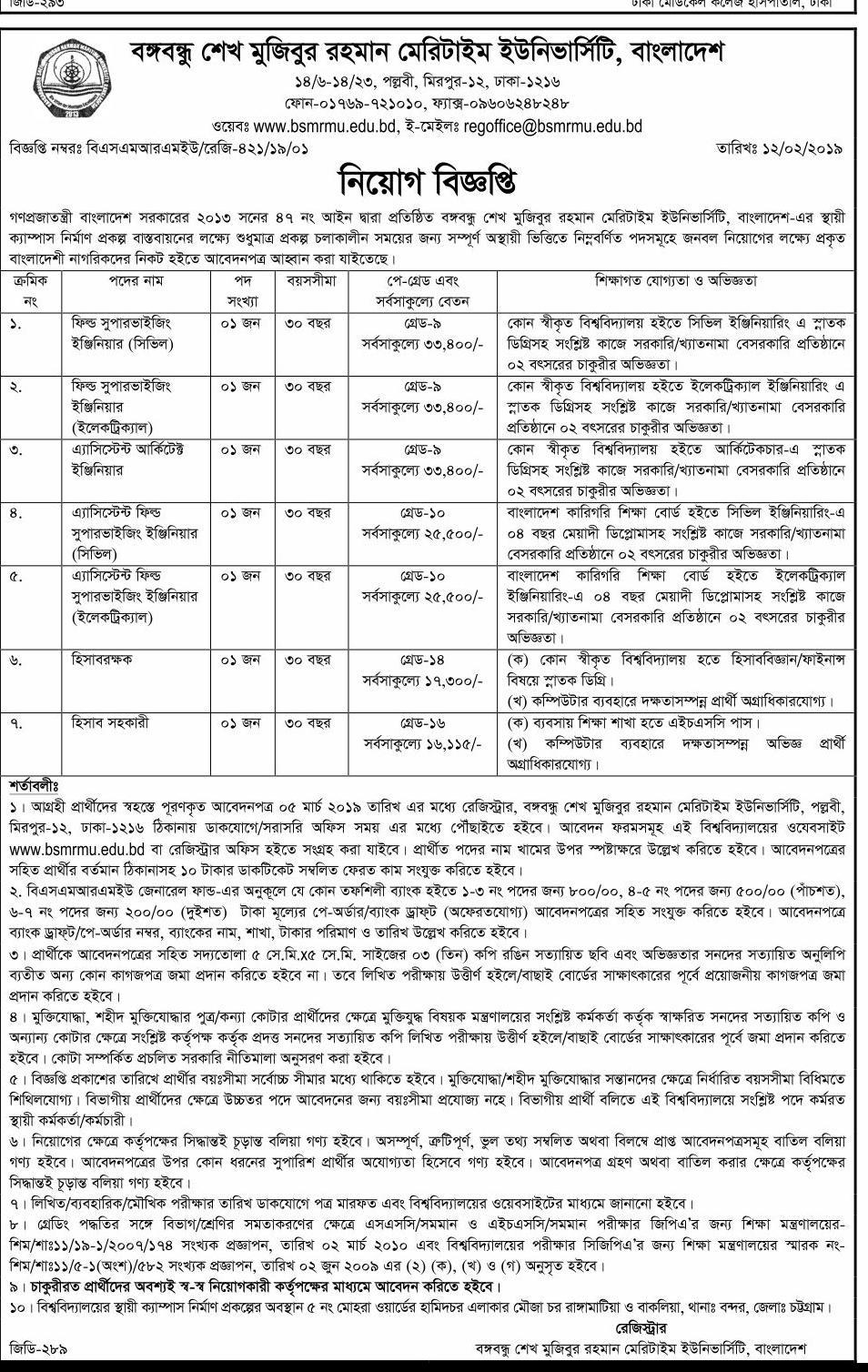 Bangabandhu Sheikh Mujibur Rahman Maritime University (BSMRMU) Job Circular 2019