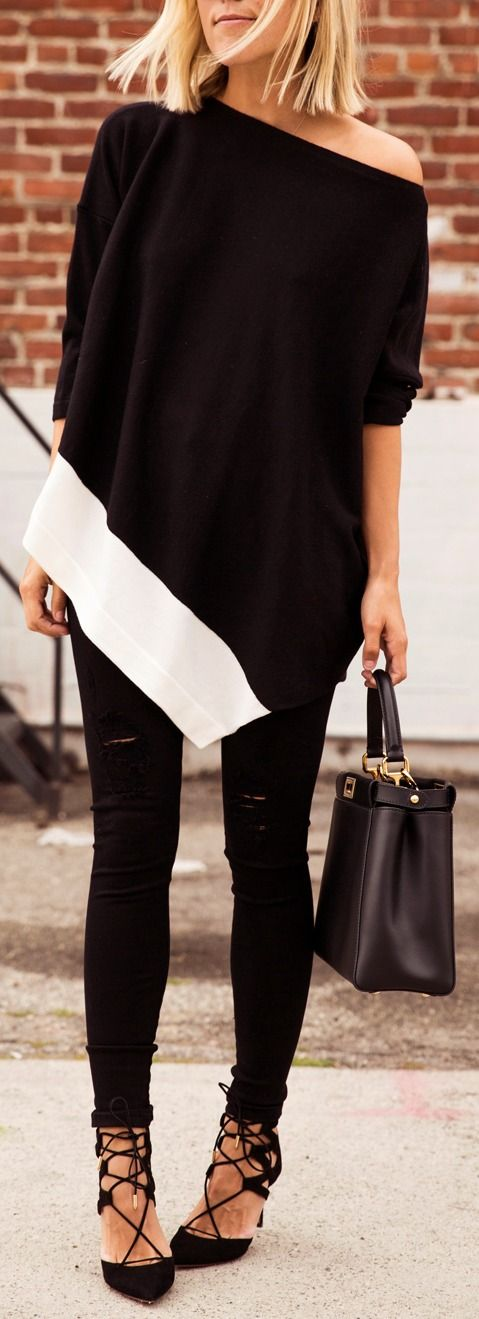 stylish black and white outfit idea