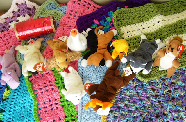 Crocheted loveys and little animals for Operation Christmas Child shoebox filler donations.