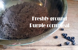 fun, delicious melt in your mouth moist flaky purple cornmeal cornbread recipe