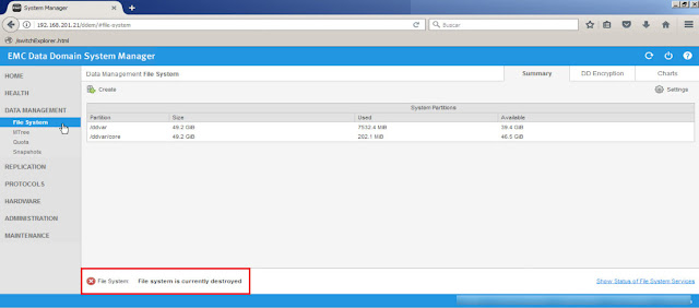 Finalizado el proceso comprobaremos que el file system de nuestro dispositivo de copia de seguridad EMC DataDomanin ha sido destruido por completo