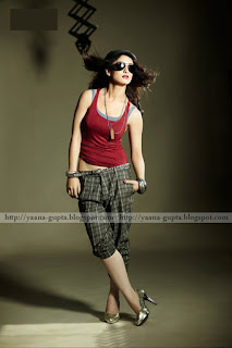 Sandeepa Dhar In Red Top With Sun Glasses