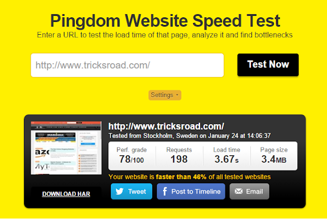 TricksRoad Speed Test
