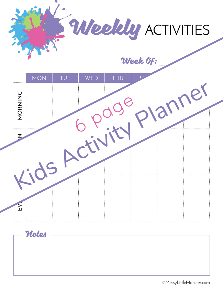 Kids weekly planner. Kids activity planner pack.