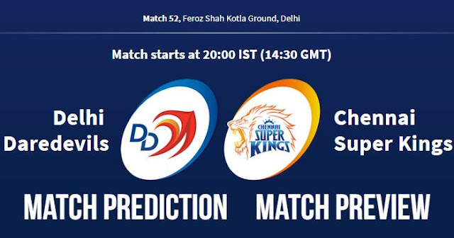 IPL 2018 Match 52 DD vs CSK Match Prediction, Preview and Head to Head: Who Will Win?