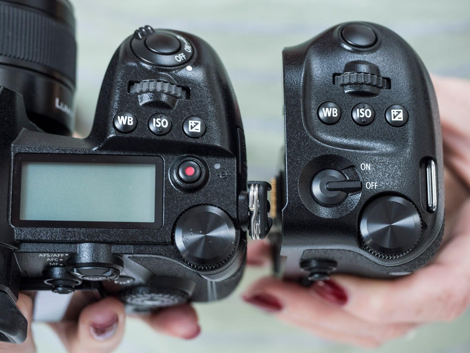 Органы управления на батарейном блоке Panasonic DMW-BGG9 в сравнении с органами управления камеры Lumix G9
