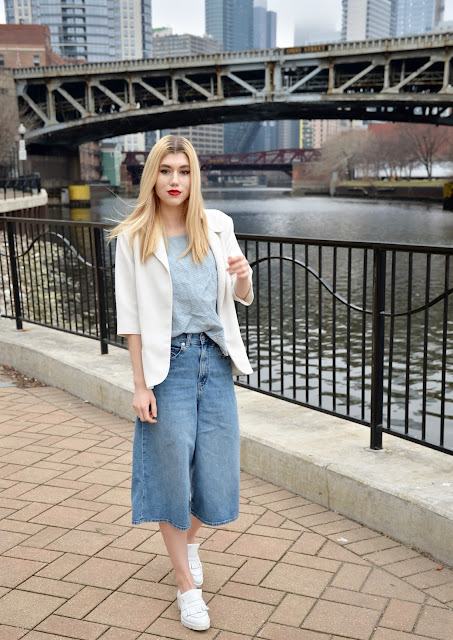denim, culottes, denim culottes, white blazer, denim on denim, how to wear denim, spring style