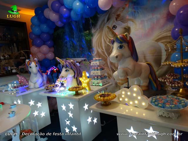 Decoração de festa feminina Unicórnio - Mesa temática para aniversário de meninas