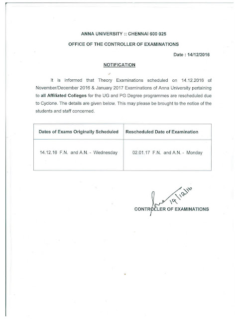 Anna University Notification: Rescheduled Time Table for Postponed Exams Due to the Cyclone