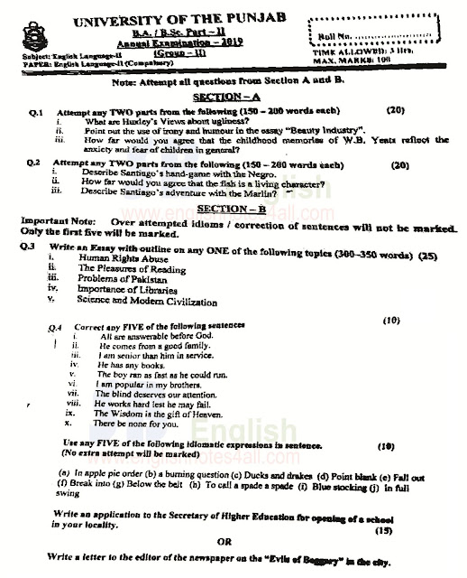 punjab university 2019 annual paper