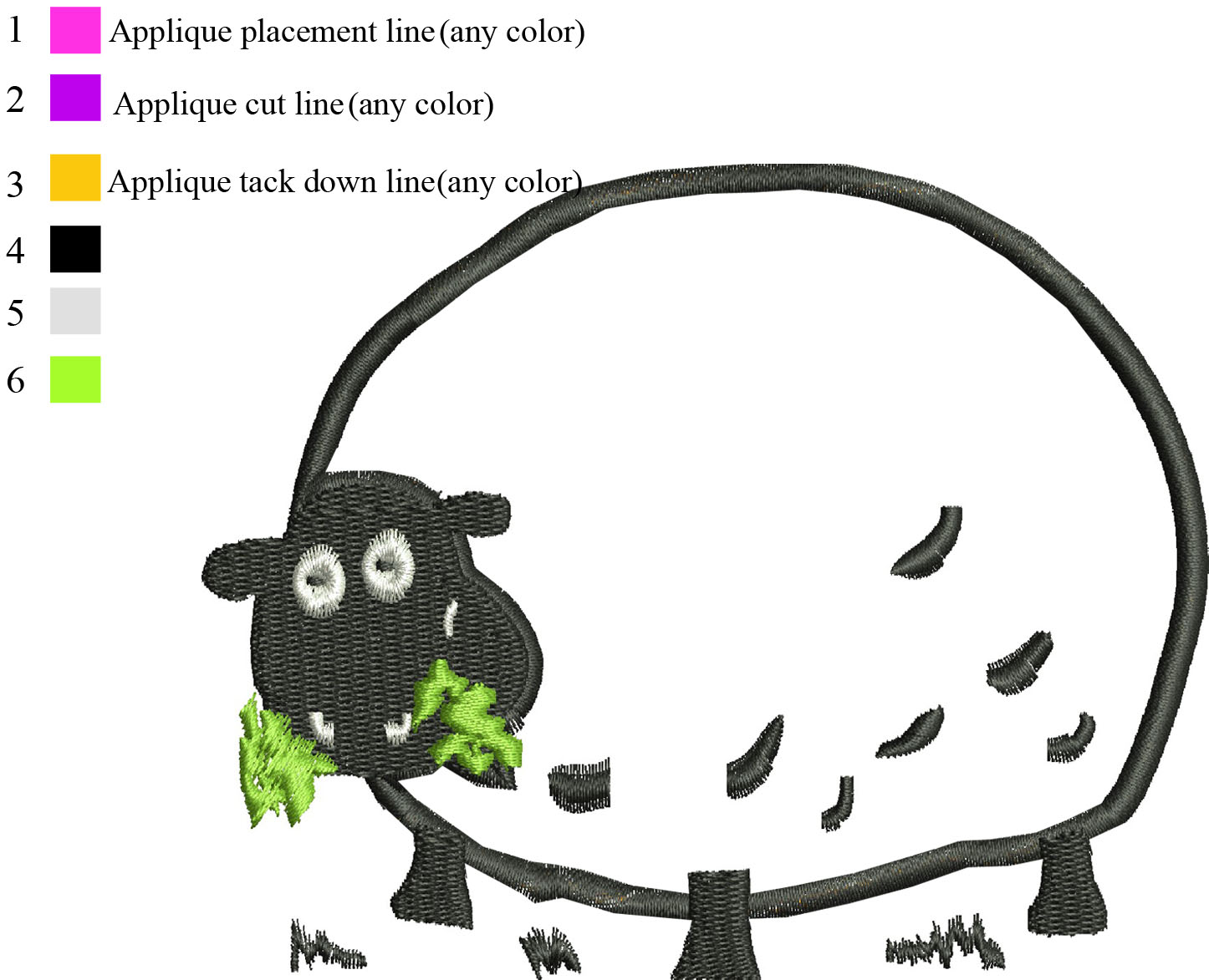 Embroidery designs: Shaun the sheep applique Embroidery