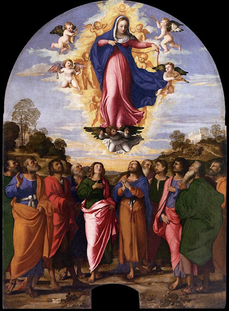 The assumption of the Virgin Mary who is removing her sash,  which falls at the feet of Apostle Thomas (In Green) Palma Vecchio