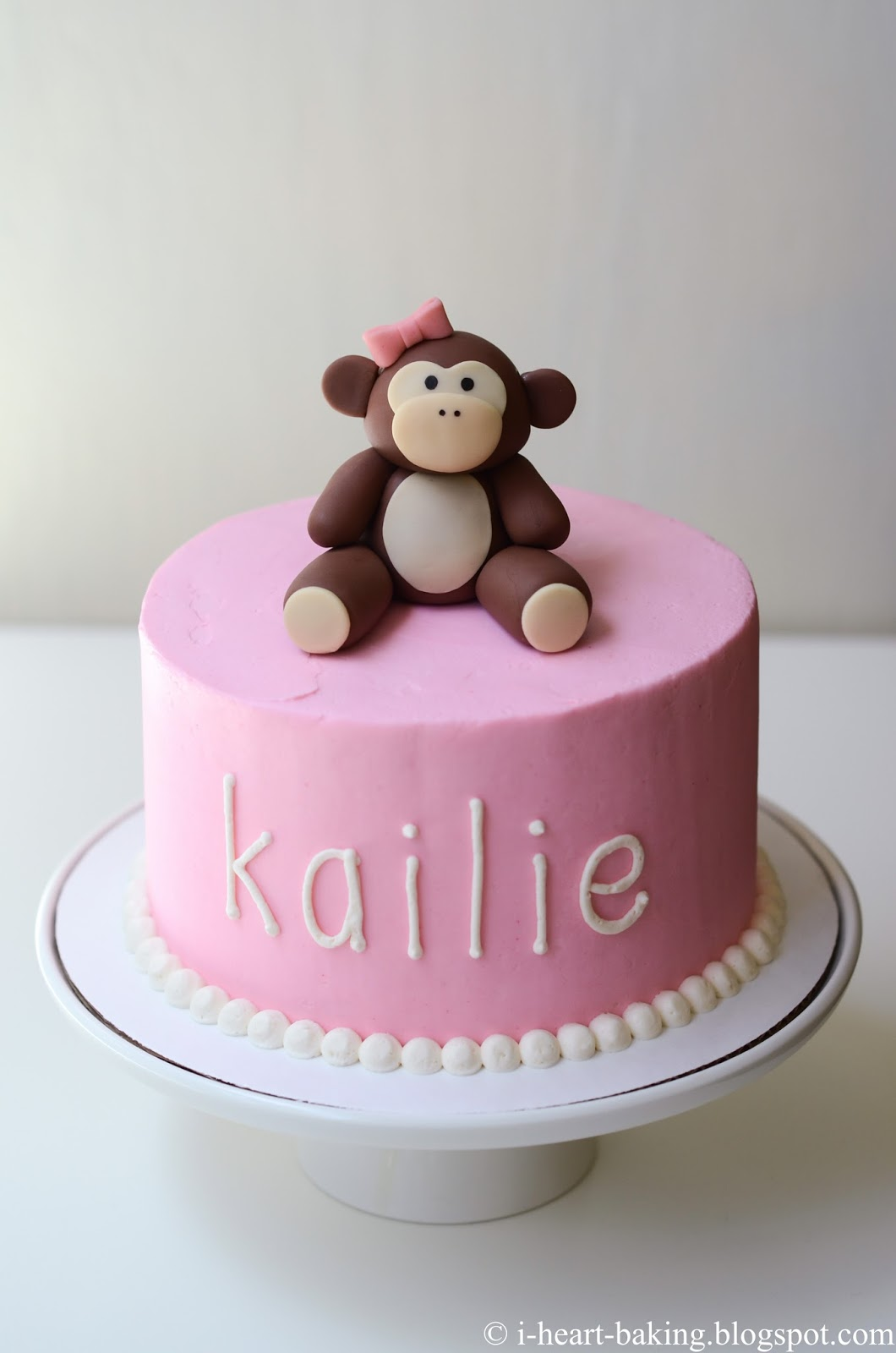 heart baking monkey baby shower cake