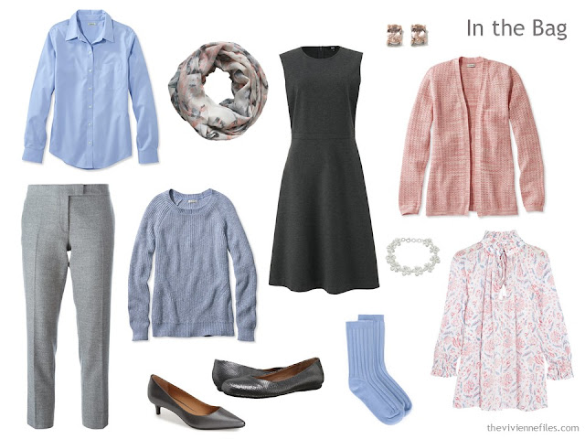 "six-piece ""six pack"" travel wardrobe in grey, peach and light blue"