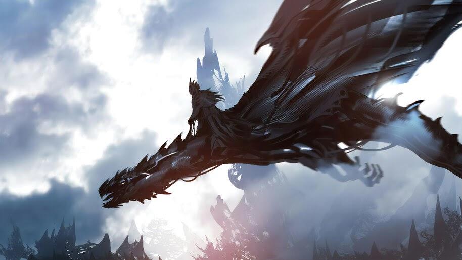 Dark Rider, Dragon, Fantasy, Art, 4K, #4.969