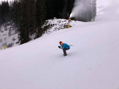 Pretending to ski on the Fortini ski run.