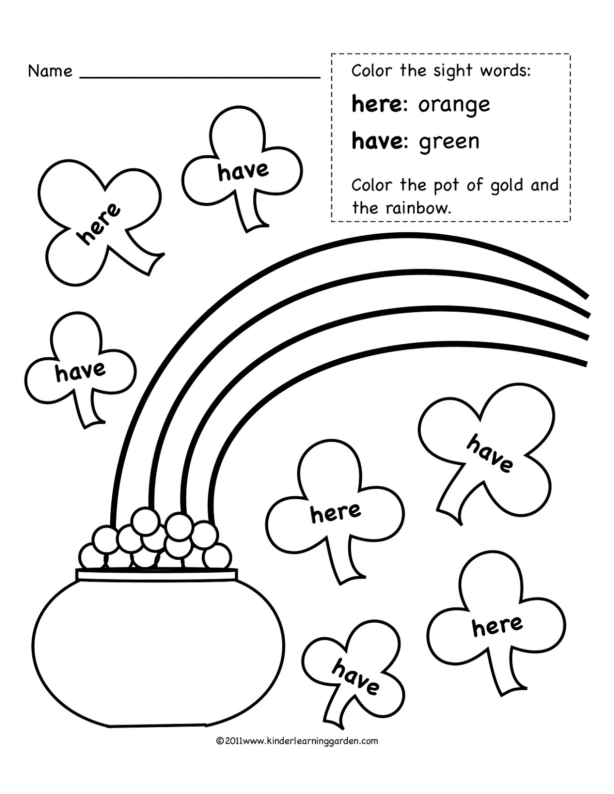 Kinder Learning Garden March Sight Words Freebie