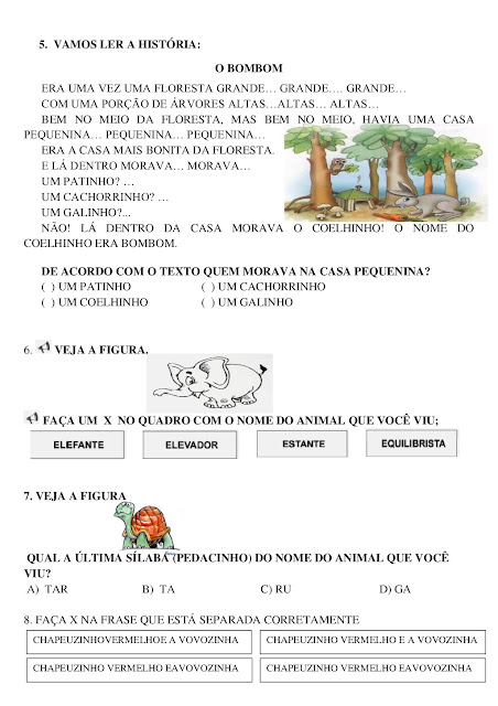 prova de portugues 2 ano ensino fundamental para imprimir
