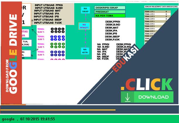 Aplikasi Raport Kurikulum 2013 SD Kelas 5 menggunakan Microsoft Excel