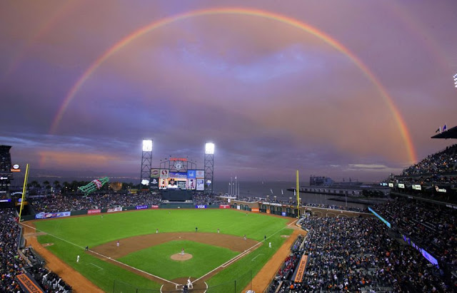 A rainbow is seen over AT & T Park in San Francisco, Calif..
