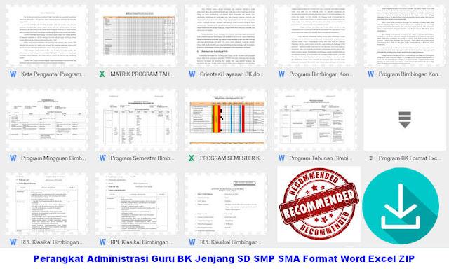 Perangkat Administrasi Guru BK Jenjang SD SMP SMA Format Word Excel ZIP