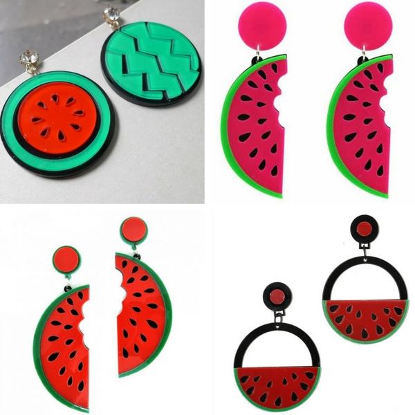 Tendência brincos de acrílico de melancia