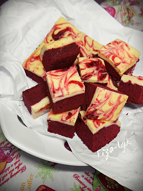 Resepi Red Velvet Cheesecake Brownies