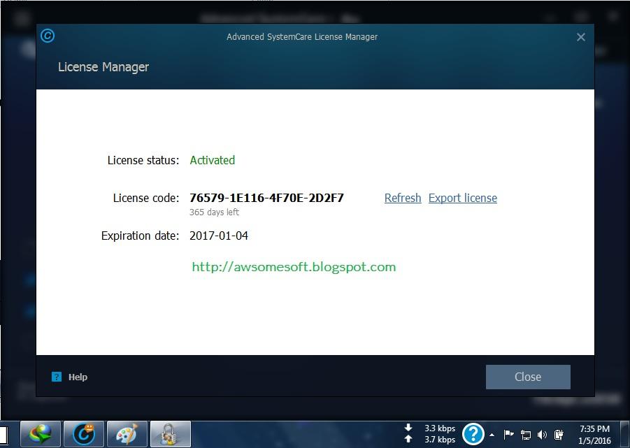 advanced system care license