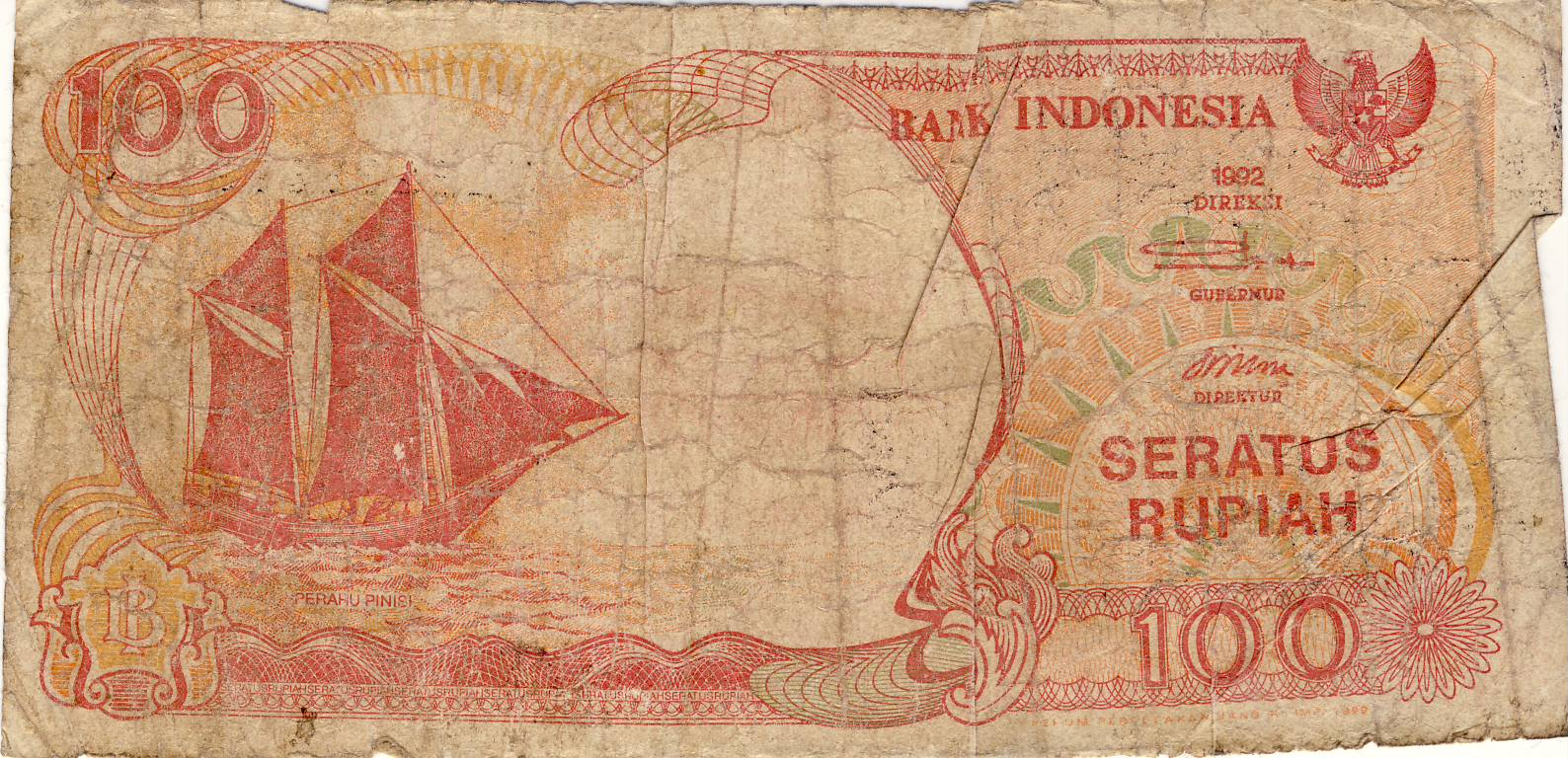 Uang Kertas  Rupiah Bergambar Perahu Pinisi Dan Anak Gunung Krakatau