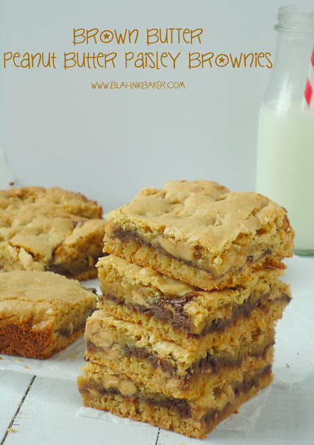 Brown Butter Peanut Butter Paisley Brownies via Blahnik Baker