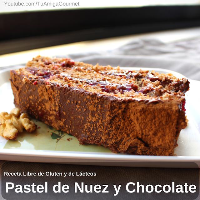 Torta de nuez con crema pastelera de chocolate,Receta sin gluten ni lácteos