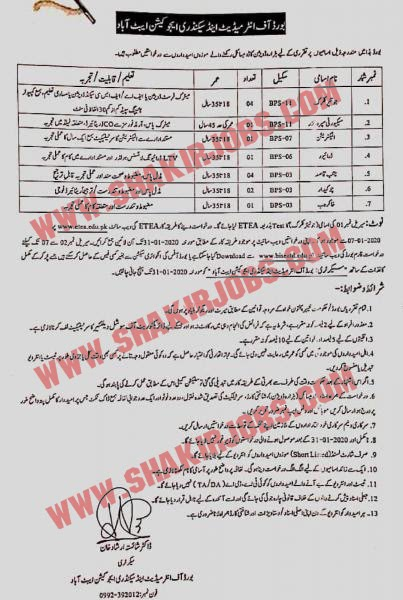 BOARD OF INTERMEDIATE AND SECONDARY EDUCATION BISE ABBOTTABAD JOBS 2020