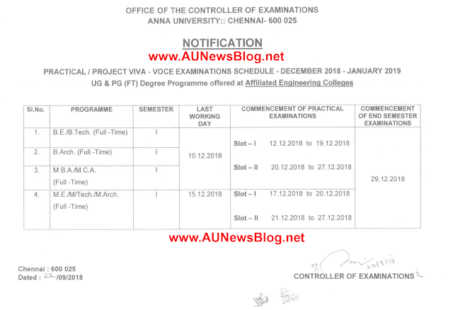 Anna University Practical Examination Schedule for Nov Dec 2018 & Jan 2019 Exams (UG & PG)