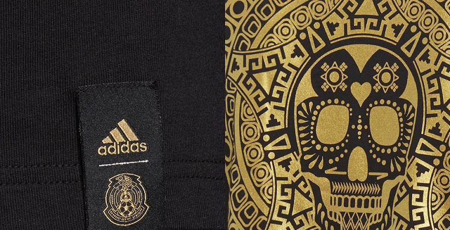 fd926cb841752 Stunning Black / Gold Adidas Mexico Graphic Shirt Released
