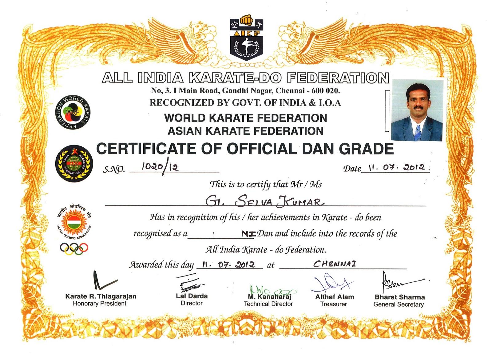 Renshi G Selvakumar Isshinryu Karate Madurai Certificates Of