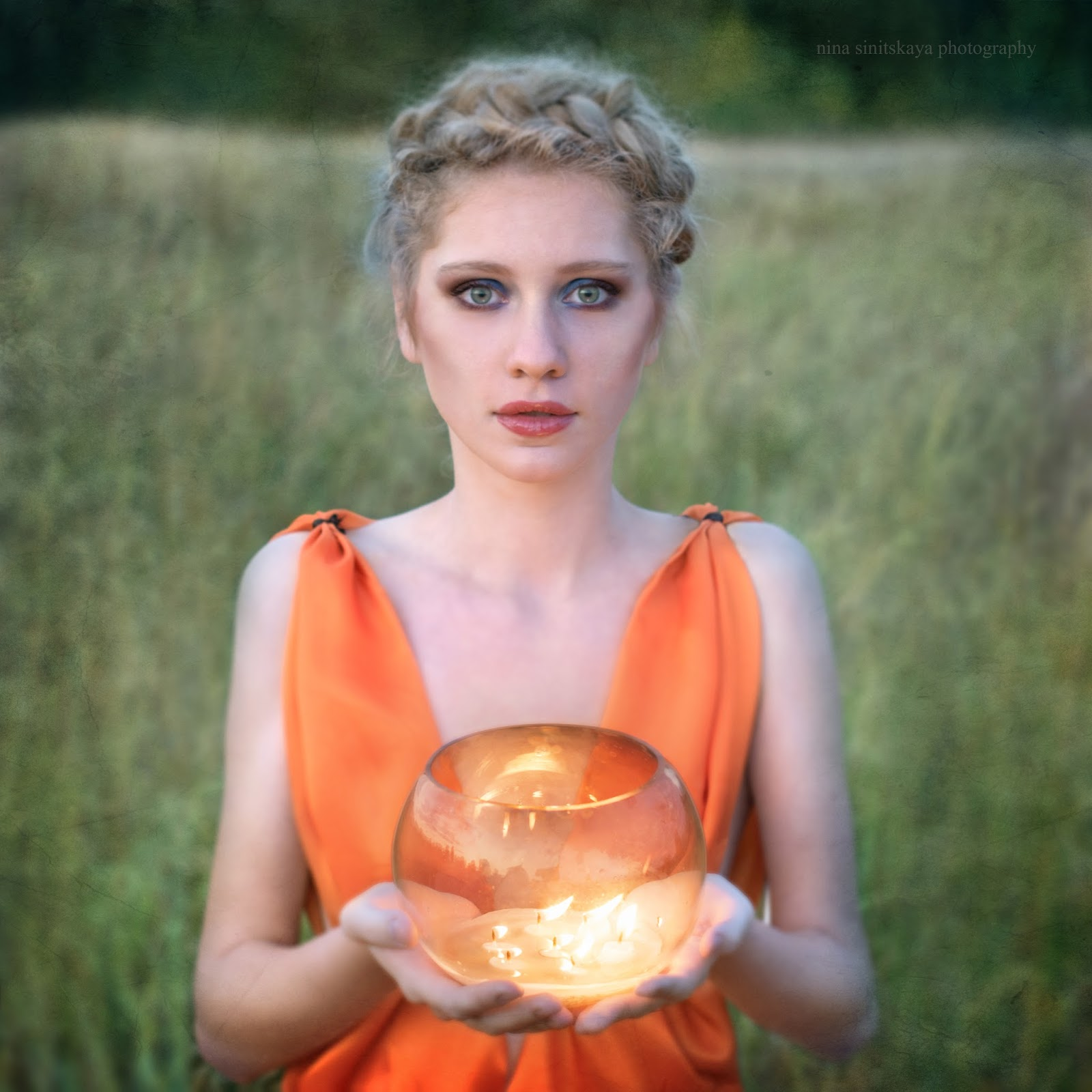 Portrait of a girl with candles